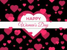 Happy women day, 8 march. Mother`s day. Greeting card with hearts, banner and poster. Typography design. Vector. Illustration royalty free illustration