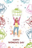 Happy Women Day Poster With Hand Drawn Girl Holding Gift Box. Vector Illustration Stock Photography