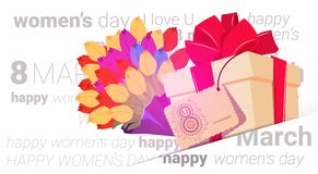 Happy Women Day Presents Background With Beautiful Flowers And Gift Box Greeting Card Design 8 March Holiday Concept. Flat Vector Illustration royalty free illustration