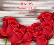 Happy women day red roses on wooden background Vector. Illustration Stock Images