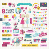 Happy Women Day set Royalty Free Stock Photography