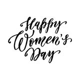 Happy Women Day text lettering vector greeting Royalty Free Stock Images
