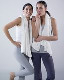 Happy women after effort. Portrait of two young women smiling after effort Stock Images
