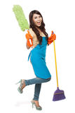 Happy women excited during cleaning Stock Photos