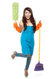 Happy women excited during cleaning Royalty Free Stock Photo