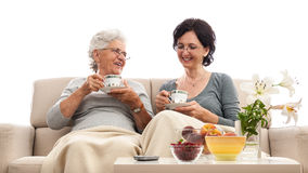 Happy women family coffee small talk gossip Stock Images