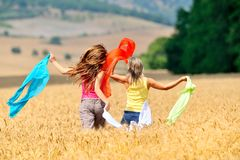 Happy women on field in summer Royalty Free Stock Images
