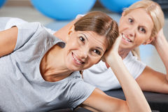 Happy women in fitness center Stock Image