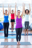 Happy women in fitness studio with arms raised Royalty Free Stock Photos
