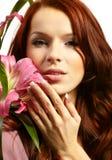 Happy women with flowers Stock Photo