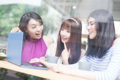 Happy woman friends in restaurant Royalty Free Stock Photos