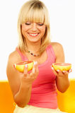 Happy women with fruits Stock Image