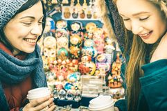 Happy women girlfriends best friends sharing time together at russian bazaar stock images