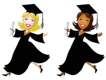 Happy Women Graduates. An illustration featuring a couple of young women happy and leaping through the air with diplomas, gowns and hats vector illustration