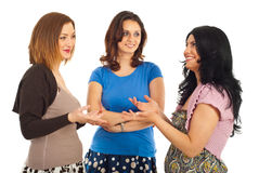 Happy women having conversation Stock Photo
