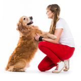 Happy women with her dog Stock Image