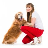 Happy women with her dog Stock Photo