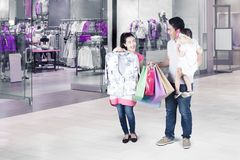 Woman trying new clothes at mall Stock Photos