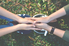 Happy women hold hands on nature. Background hipster tone stock photo