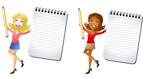 Happy Women Holding Notepads. An illustration featuring your choice of 2 women smiling and holding notepads and pencils. Notepads are ideal for custom text Royalty Free Stock Image