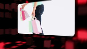 Happy women holding their shopping bags stock footage