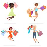 Happy women jump with shopping bags. Young girls jumping holding packages with purchases. Cartoon vector illustration. stock illustration
