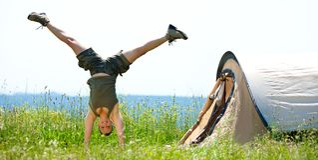 Happy women jumping Stock Image