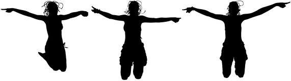 Happy women jumping Royalty Free Stock Photo
