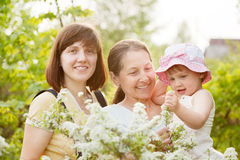 Happy women and kid at summer garden Stock Photography