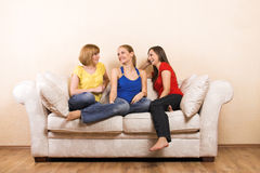 Happy women in a living room Royalty Free Stock Photography
