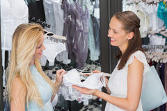 Happy women looking at lingerie Royalty Free Stock Image