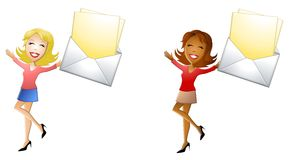 Happy Women With Mail. An illustration featuring your choice of 2 women smiling and holding mail Royalty Free Stock Photo