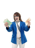 Happy women with money - bank concept Stock Image