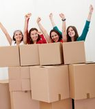 Happy women moving Royalty Free Stock Photo