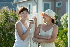 Happy women near fence wicket Stock Photo