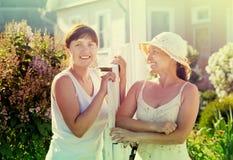 Happy women near fence wicket Stock Photos