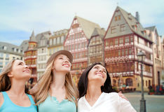Happy women over frankfurt am main background Stock Photography