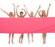 Happy women in pink - Breast Cancer Awereness Stock Image