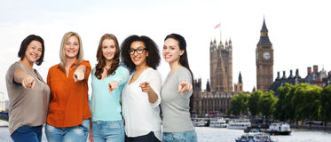 Happy women pointing finger on you in london city Royalty Free Stock Photography