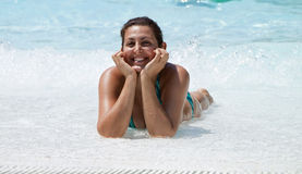 Happy women in the pool Royalty Free Stock Photo