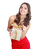 Happy women portrait with a gift Stock Image