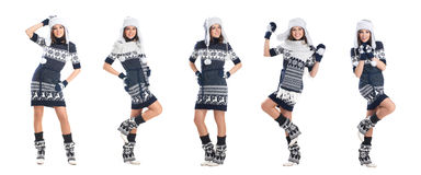 Happy women posing in warm winter clothes isolated on white Royalty Free Stock Photos
