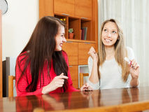 Happy women with pregnancy test Royalty Free Stock Photo