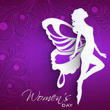 Happy Women's Day. Greeting card or background with white silhouette of a women with wings on purple background royalty free illustration
