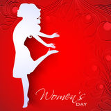 Happy Women's Day. Greeting card or background with white silhouette of a happy women on red floral decorative background royalty free illustration