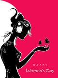 Happy Women's Day. Silhouette of a girl on pink and white background for Happy Women's Day royalty free illustration