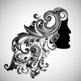 Happy Women's Day. Silhouette of a beautiful girl with floral decorated hairs for Happy Women's Day vector illustration