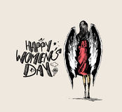 Happy Women`s Day, angel woman with wings Royalty Free Stock Images