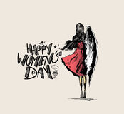 Happy Women`s Day, angel woman with wings Stock Image