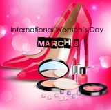 Happy Women's Day background with ladies shoe and cosmetics Royalty Free Stock Photography